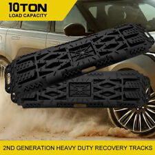 Pair 4x4 Recovery Tracks Off Road 4WD Sand Snow Mud Tyre Ladder 10 Ton Black