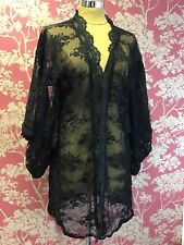 Agent Provocateur Black Kimono Sheer Short Robe One Size 3/4 Sleeve