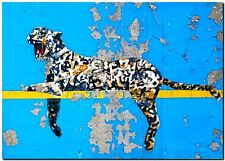 "BANKSY STREET ART *FRAMED* CANVAS PRINT Bronx Zoo Leopard 20x16"" stencil -"