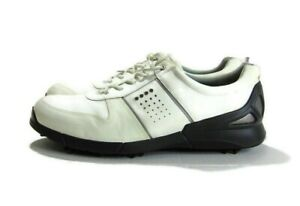ECCO Shoes White Gray Black Leather Soft Spike Extra Width Golf Mens Size 46
