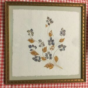 """Original Mixed Media Floral Leaves Artwork in beautiful Gold Frame 14"""" X 14"""" EX"""
