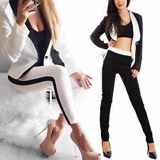 Completo donna giacca monopetto pantaloni elegante bicolore TOOCOOL JL-21060