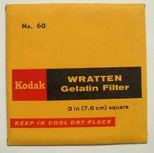 Kodak wratten GELATINA Filtro NO 60 7.6cm OR 75mm Cuadrado