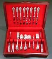 Wallace Rose Point Sterling Silver Flatware, 8 place settings, 59 pieces