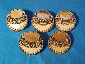 5-19thc VICTORIAN Era BRASS + CELLULOID Coat BUTTONS 2 Tone Chocolate Colors