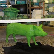 SCHWEIN lebensgroß 160 cm GRÜN DEKO Garten Tier Figur BAUERNHOF GFK Dekoration