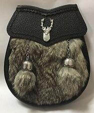 Child's Kilt Sporran Grey Rabbit Fur Stag Head/Kids Sporran Leather/Baby Sporran