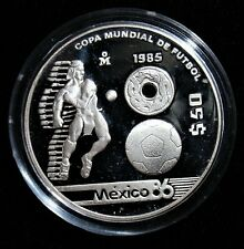 MEXICO: 1985 Mo World Cup 86 Football Silver 50 Peso. Gem PROOF