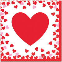 VALENTINES LUNCH NAPKINS CONFETTI HEARTS PARTY TABLE DECORATIONS LOVE RED & PINK