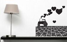 Wall Vinyl Sticker Tractor Plowing a Field of Smoke Love Heart (n445)