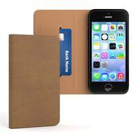 Tasche für Apple iPhone SE / 5 / 5S Cover Handy Schutz Hülle Case Etui Hellbraun