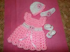 Handmade in USA Crochet baby girl Dress Headband shoes& hat,Rocky Mountain Marty
