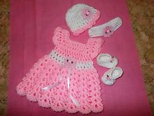 Handmade Crochet baby girl Dress, shoes hat, headband by Rocky Mountain Marty