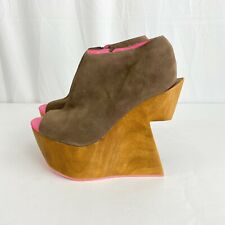 Dolce Vita Size 8 Platform Wooden Heel Cutout Neon Pink Wedge Shoes Bold Taupe