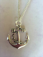 Anchor Nautical Necklace Pendant  Silver Plated Chain 20 22 24  in Gift Bag