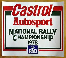 1978 Castrol Autosport National Rally Championship Motorsport Sticker Decal