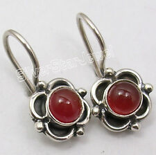 "925 Sterling Silver NATURAL RED CARNELIAN HANDMADE Earrings 0.7"" BIRTHDAY GIFT"