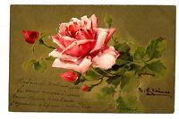CPA Fantaisie Carte Relief Fleurs Rose Illustration C. Klein fantasy postcard