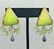Real Orchid Petal Earrings with Peridot and Emerald Lipplus  Van Lipp & Carter