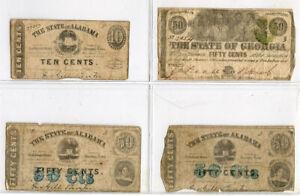 1863 US ALABAMA & GEORGIA 4 OBSOLETE NOTES LOT VG-FINE. RARE.