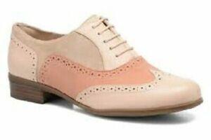 Clarks BNIB Ladies Lace-up Shoes HAMBLE OAK Peach Combi UK 6.5 / 40