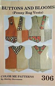 306 Buttons & Blooms PENNY RUG VESTS Pattern- Shirley Stevenson-XS-S-M-L-XL-XXL