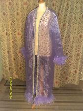 Drag Queen Lila/Brillo Lila Abrigo Largo con Plumas 20/22