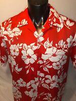 Malihini Hawaii Hawaiian Camp Shirt Red Floral Aloha Lounge VTG 80s Men's SzXL