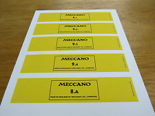Meccano Set 9 & 8A Red Small Parts Boxes Labels. Full Set. Reproductions