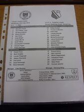23/07/2014 Teamsheet: St Patricks Athletic v Legia Warszawa [Champions league] .