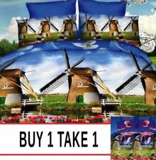 3 Pieces Queen 3D Bedsheet Buy 1 Take 1 Windmill Bedding Set with Pillowcase