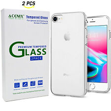 New iPhone 8 Clear Transparent Soft TPU Back Cover & 2 Pcs Tempered Glass Film