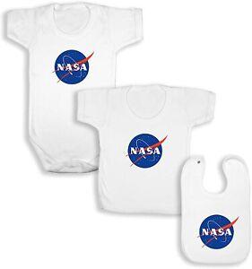 NASA White Babywear Bundle - White Short Sleeve Bodysuit / T-Shirt / Bib