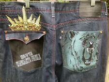 Eight 732 blue Jeans Embroidered Hip Hop men Size 42 x 34