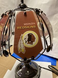 """Washington Redskins 3 Way Touch Lamp Table Lamp 14 1/4"""" Tall 6 Glass Panels  New"""