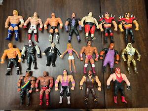 WWF Bendems Lot of 19 Action Figures WWE Wrestling Vintage Titan Sports bend ems