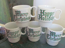 (5) Vintage Retro Stackable Merry Christmas Mugs, Sy Japan - Happy Holidays