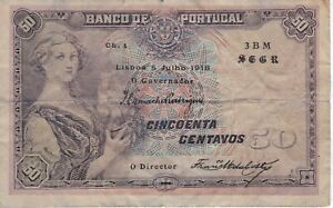 RARE BANKNOTE FROM PORTUGAL 50 CENTAVOS YEAR 1918 - DIFFICULT