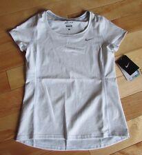 NIKE Youth Girl's Medium 10 11 Yr Performance Athletic Shirt White Gray Stretch