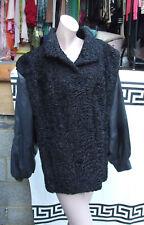 Wonderful Vintage Made to Order Persian Lamb Fur+Leather Short Coat Heavy Jacket