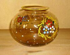 1 Blumenvase durchsichtiges braunes Glas, Handbemaltes  Blumendekor