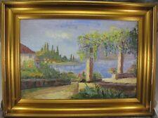 Gusponi V. Gemälde Südliche Szene Haus am Meer / See Impressionist Italien ?