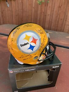 Pittsburgh Steelers Multi Signed Full Size Throwback Helmet 6 Autographs JSA COA