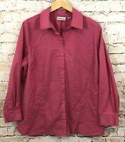 Avenue womens 22W/24W button up shirt vneck top pink rose 22/24 long slv BX4