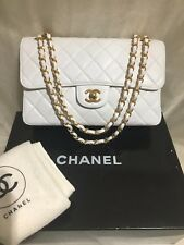 "Authentic RARE Chanel 10"" White Lamb Double Faced Double flap Shoulder Bag GHW"
