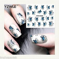 Nail Art Water Decals Transfers Sky Blue Butterfly Butterflies Gel Polish (8359)