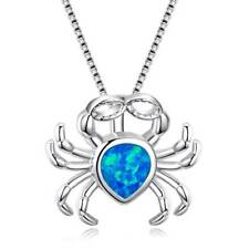 Cute Crab Opal Pendant Necklace Animal Jewelry for Women Gift