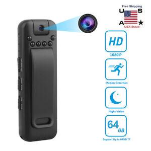 1080P HD Video DVR IR Night Cam 8-hour Motion Camcorder Mini Police Body Camera