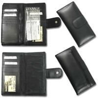 CB 0077-Black Womens Black wallet Checkbook Storage Purse Check Book Leather