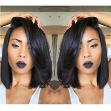 Cool Women Ladies Wig Short Straight Black Hair Natural Black Human Hair